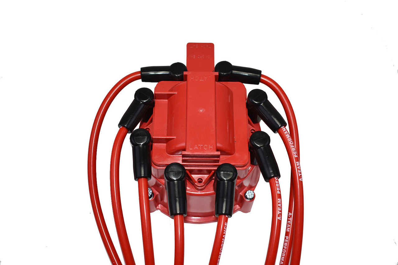 A-Team Performance 8.0mm Red Silicone Spark Plug Wires SBC Small Block Chevy Chevrolet GMC Under the Exhaust Wires HEI 283 305 307 327 350 400