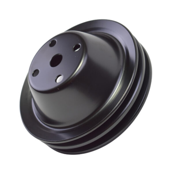 A-Team Performance Water Pump Pulley Double-Groove LWP Long Water Pump Compatible with Small Block Chevy SBC 262 265 267 283 302 305 307 327 350 400, Black Steel