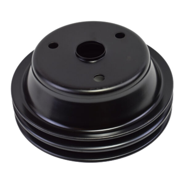 A-Team Performance Crankshaft Pulley Double-Groove LWP Long Water Pump Compatible With Small Block Chevy SBC 262 265 267 283 302 305 307 327 350 400 Black Steel