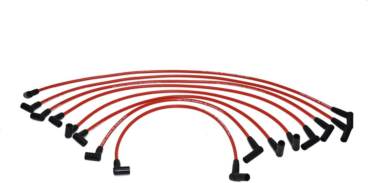 A-Team Performance 8.0mm Silicone Spark Plug Wires Set Compatible With SBF Valve Cover Wires 221 255 260 289 302 351W BOSS 302 Fits HEI Distributor Caps Red
