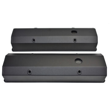 "A-Team Performance Chevy Fabricated Aluminum Tall Valve Covers 1/4"" Rail SBC 327 350 383 400 BLACK"