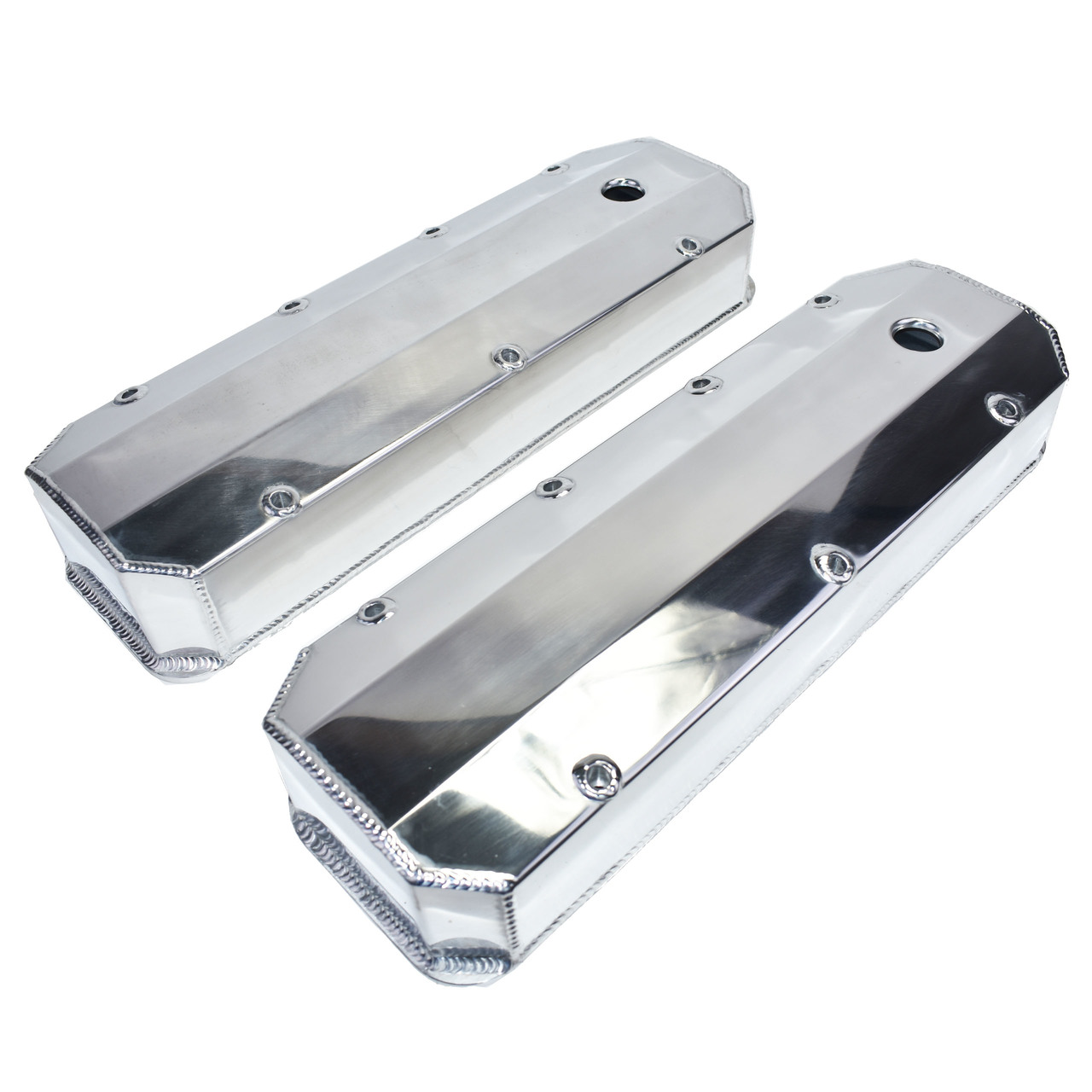 A-Team Performance BBC Fabricated Tall Aluminum Valve Covers Polished Big Block Chevy 396 427 454