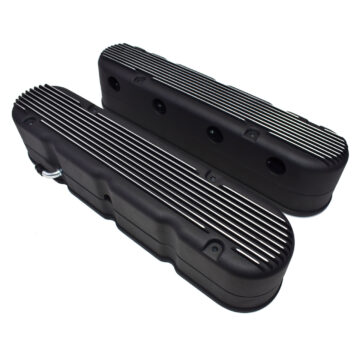 A-Team Performance GM LS Finned Cast Aluminum Valve Covers With Coil Mounts and Covers, Black